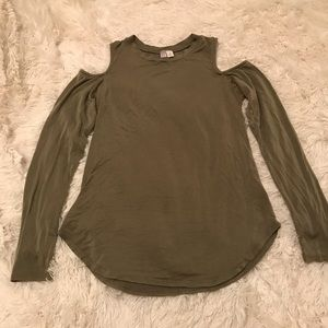 Tops - Olive Long Sleeve Top With Shoulder Cut-Outs